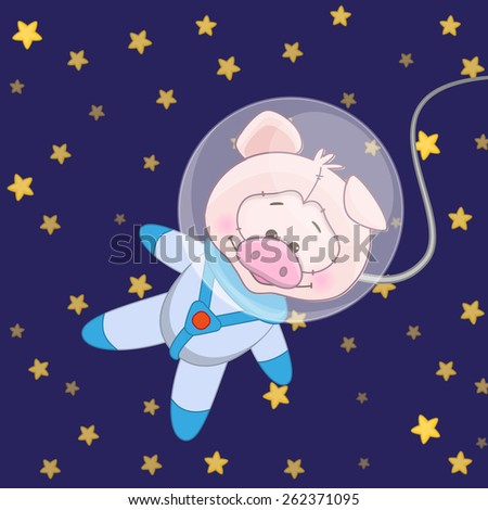 Pig astronaut on a stars background - stock photo