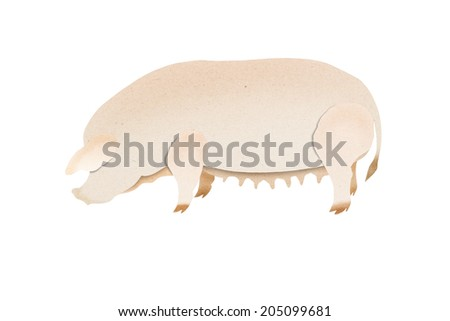 Pig cut paper craft on paper background
