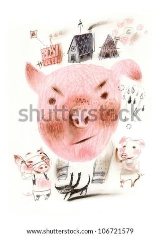 Pig family - stock photo