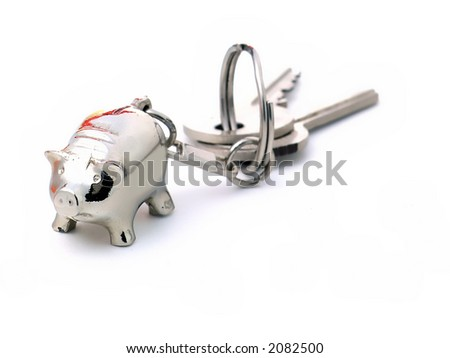 Pig label and keys - stock photo