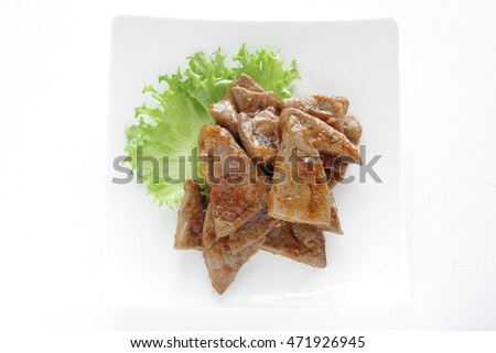 pig liver grilled with sweet sauce for asian food image