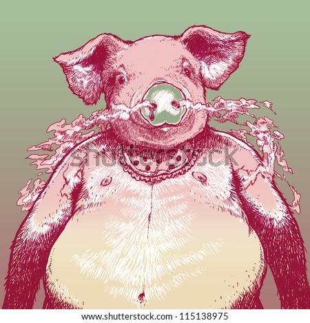 Pig Man - stock photo