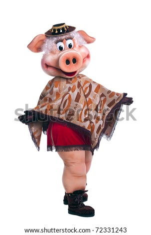 Pig mascot costume dance in poncho isolated - stock photo