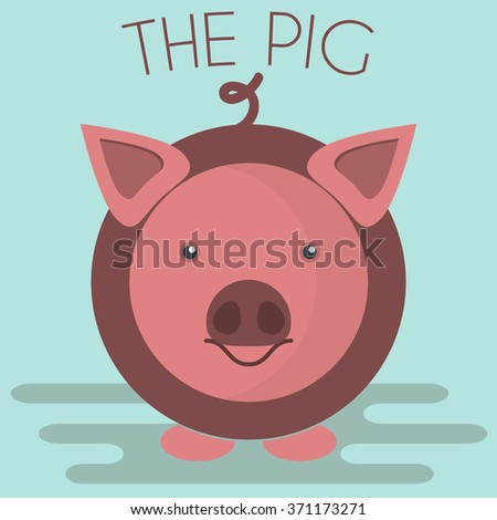 Pig mascot icon in flat style. Farm animal. Cartoon raster illustration. - stock photo