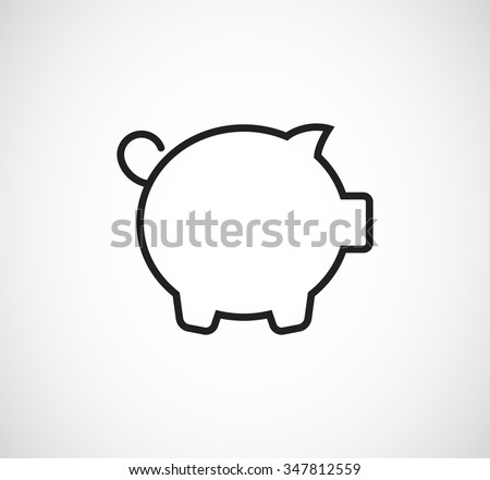 pig money bank outline icon - stock photo