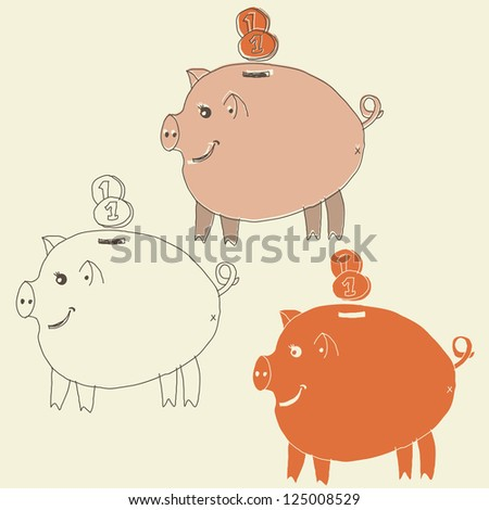 pig money box - stock photo