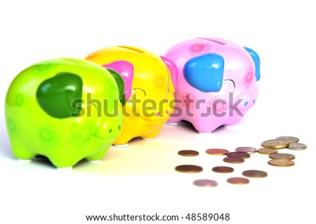 Pig money box and coin on white background.
