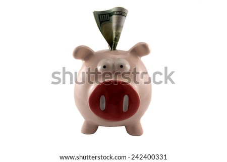 pig money box with one hundred dollars - stock photo