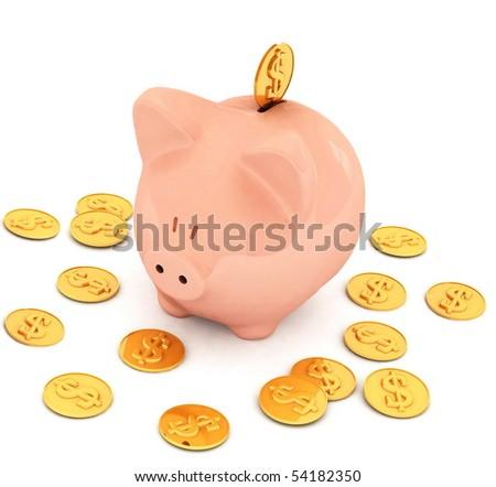pig piggy bank - stock photo