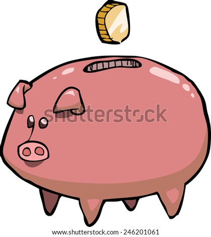 Pig piggy bank on a white background raster version - stock photo