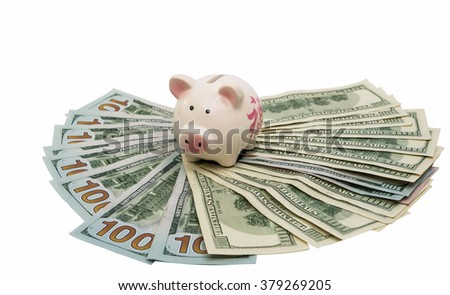 pig piggy bank with dollars on a white background
