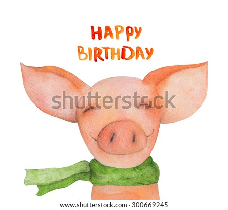 Pig Portrait in the green scarf. Happy birthday. Watercolor illustration. Hand drawing - stock photo
