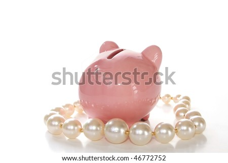 Pig's bottom on pearls - stock photo