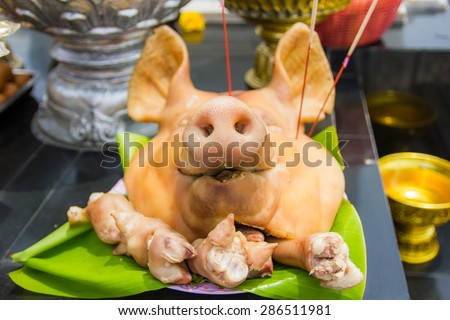 Pig's head chopped off on tray, use for pay respect in chinese temple. - stock photo