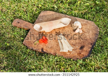 Pig skin slices, garlic and pepper on wooden plate - stock photo