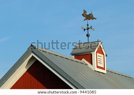 Pig weather Vane on red Cupola - stock photo