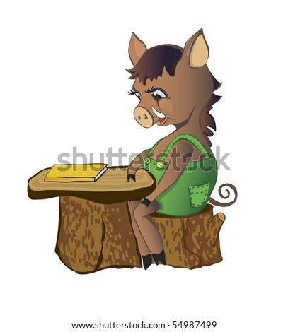 Pig (wild boar) sits at a school desk - stock photo