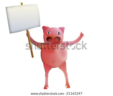 pig with empty board - illustration
