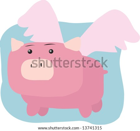 Pig with wings, illustration of when pigs fly