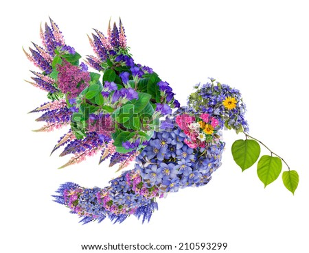 Pigeon of Peace with a green branch in a beak. Isolated floral collage. - stock photo