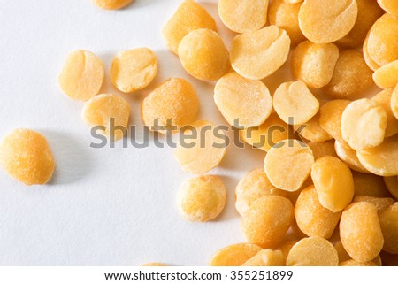 Pigeon pea split isolated on white background - stock photo