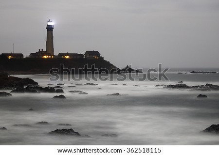 Pigeon Point Lighthouse at night - Long exposure image - - stock photo