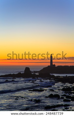 Pigeon Point lighthouse at sunset, California - stock photo