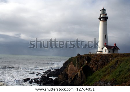 Pigeon Point Lighthouse California Coast with a storm coming in - stock photo
