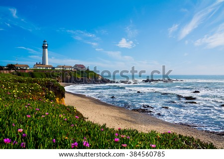 Pigeon Point Lighthouse in California - stock photo