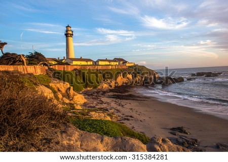 Pigeon Point Lighthouse, Landmark of Pacific coast - stock photo