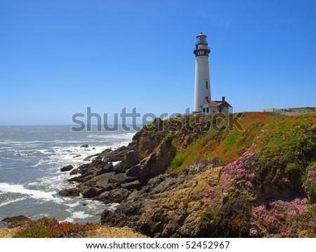 Pigeon Point Lighthouse near Half Moon Bay, California - stock photo