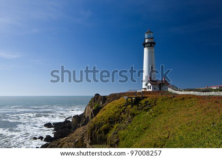 Pigeon Point Lighthouse, Pacific Ocean, California, U.S.A. - stock photo