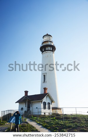 Pigeon Point lighthouse with a blue sky
