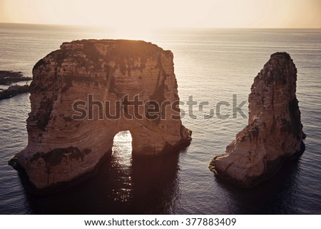 Pigeon Rocks in downtown of Beirut, Lebanon - stock photo
