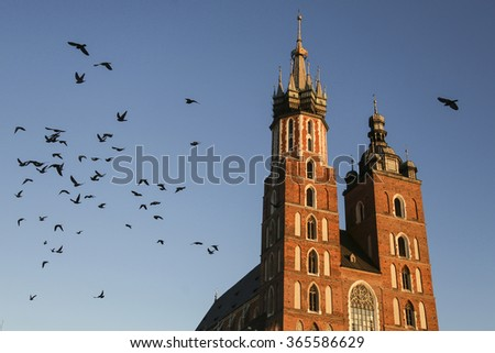Pigeons flying above St. Mary's Church at the Main Square in Krakow, Poland - stock photo