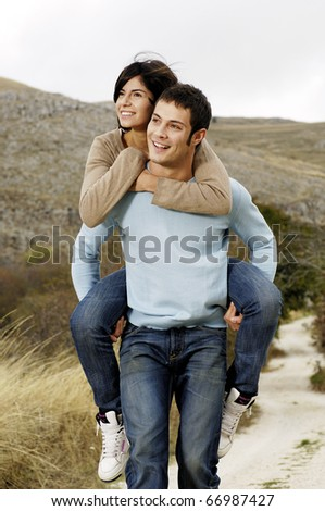 piggy back - stock photo