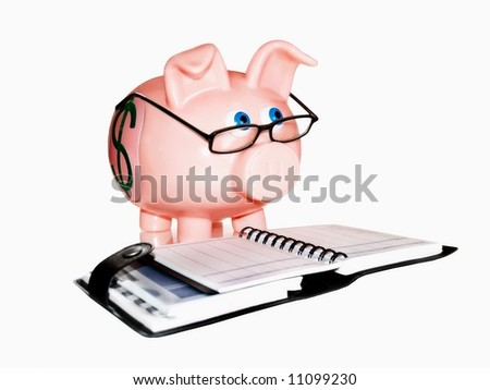 Piggy bank accounting - stock photo