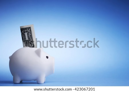 Piggy bank and banknote - stock photo