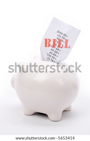 Piggy Bank and bills, concept of financial problem, Bankruptcy