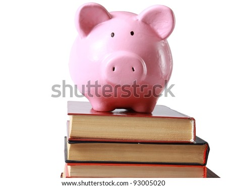 Piggy bank and book in isolated white background - stock photo