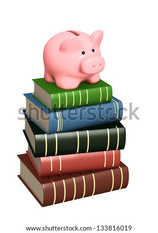Piggy bank and books. Objects isolated over white - stock photo