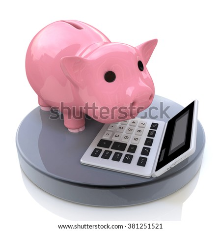 piggy bank and calculator in the design of the information related to the investment in the business - stock photo