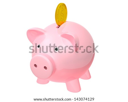 Piggy bank and coin. - stock photo