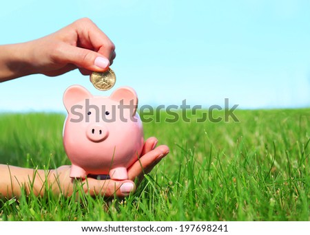 Piggy Bank and Coin in Female Hands over Green Grass and Blue Sky - stock photo