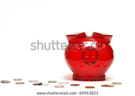 Piggy Bank and Coins - stock photo