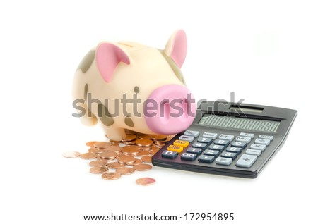 Piggy bank and coins with calculator, isolated on a white background.