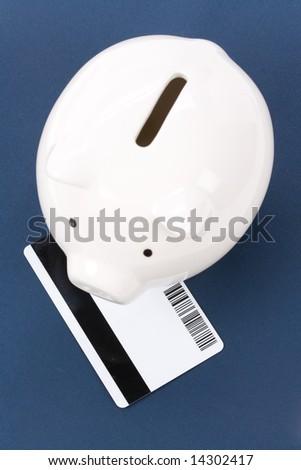 Piggy Bank and Credit Card close up - stock photo