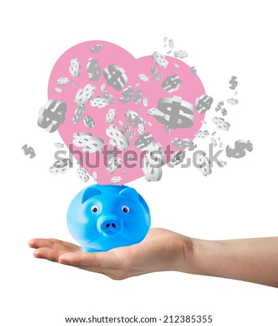 Piggy bank and dollar sign - stock photo