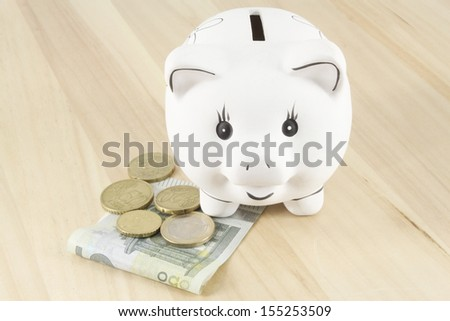 Piggy bank and euro - stock photo