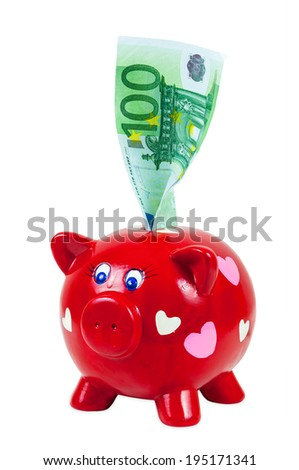 Piggy bank and 100 euro banknote isolated on white background with clipping path - stock photo